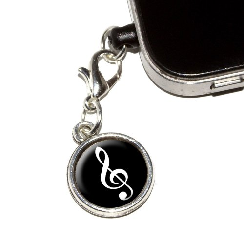 Graphics And More Vintage Treble Clef Music Black Anti-Dust Plug Universal Fit 3.5Mm Earphone Headset Jack Charm For Mobile Phones - 1 Pack - Non-Retail Packaging - Antiqued Silver
