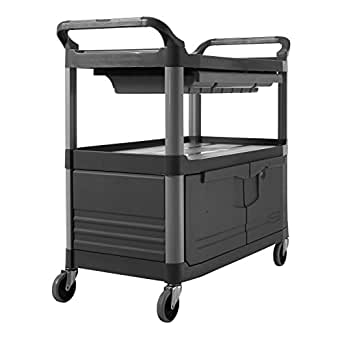 Rubbermaid Commercial FG409400GRAY XTRA Service and Utility Cart, 3-Shelf with Locking Doors and Sliding Drawer, Gray