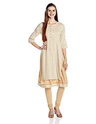 Rangriti Women's Asymmetrical Hemline Kurta (RMMSANGEMAR4301_Off White_38)