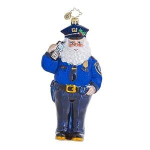 RADKO OFFICER NICK Policeman Santa Christmas Glass Ornament