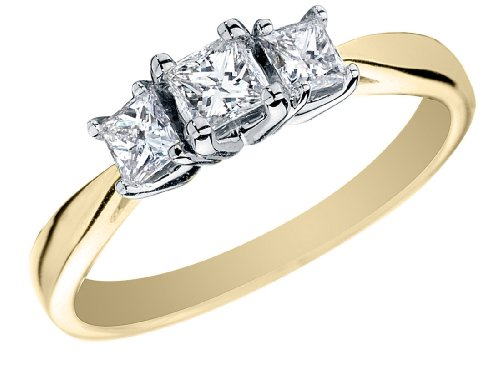Where Can I Buy Princess Cut Diamond Engagement Ring and Three Stone Anniversary Ring 1/2 Carat (ctw) in 14K Gold , Size 6