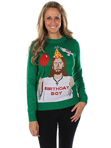 Women's Ugly Christmas Sweater - Happy Birthday Jesus Sweater Green