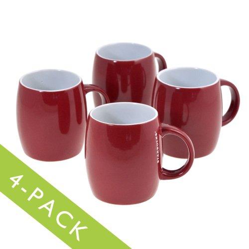 4 Starbucks Red Ceramic Coffee Mugs 14 Fl Oz Barrel Microwave & Dishwasher Safe front-566010