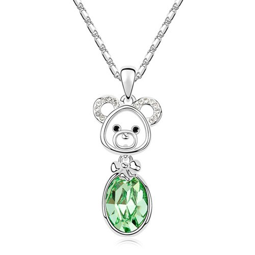 Mqueen Peridot Green Cute Bear Drop Pendant Necklace front-74428