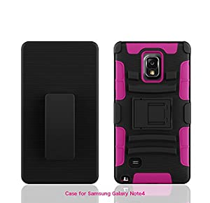Galaxy Note 4 Case - Galaxy Wireless Samsung Note 4 Rugged Heavy Duty Case - Rugged Holster Case with Kickstand for Samsung Galaxy Note 4 (Hot Pink / Black Skin)