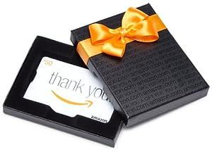 Amazon.com Black Gift Card Box - $50, Thank You Card