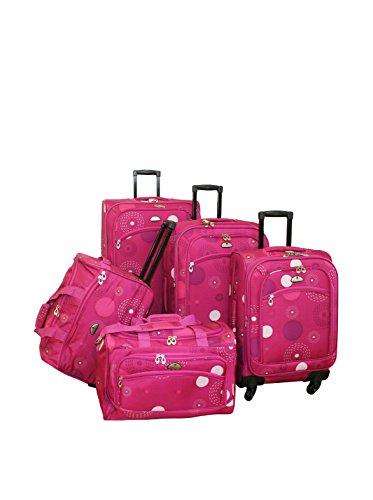 American Flyer Fireworks 5-Piece Spinner Luggage Set, Pink