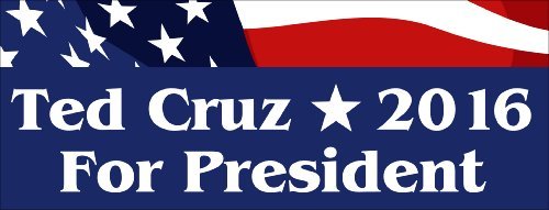 Ted Cruz For President 2016 Patriotic Bumper Sticker (Tea Party)