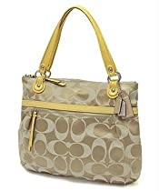 Hot Sale Coach Poppy Signature Sateen Glam Bag Khaki Ivory Sunflower