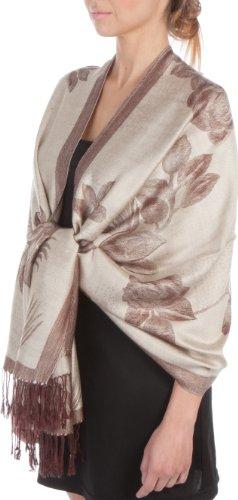 FUPashRose06AG Lightweight Two Tone Rose Floral Design Pashmina Fringe Scarf / Stole / Wrap - Beige / Brown image