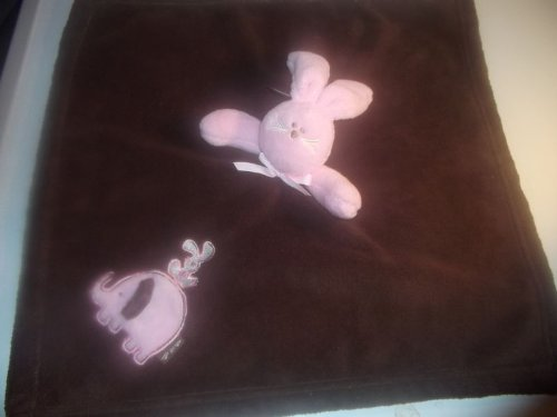 ebdf9965c9 Baby Baby Blankets   Beyond Nunu Chocolate Brown   Pink Bunny Lovey  Security Blanket New
