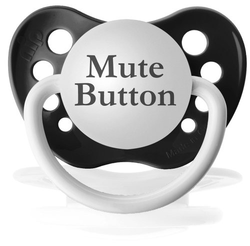 Personalized Pacifiers Mute Button Pacifier in Black - 1