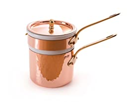 Mauviel M\'Tradition 2703.14 Copper 1-1/2-Quart Bain Marie Double Boiler with Porcelain Insert