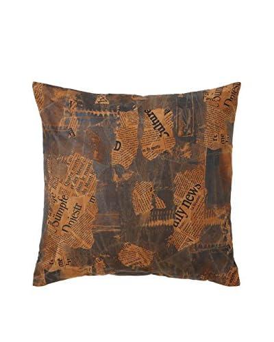 Newsprint Leather Pillow, Brown