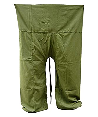 Yoga Pants Fisherman Trousers Day-to-day Relaxation Wear Around the House Plus Size Color Solid Olive