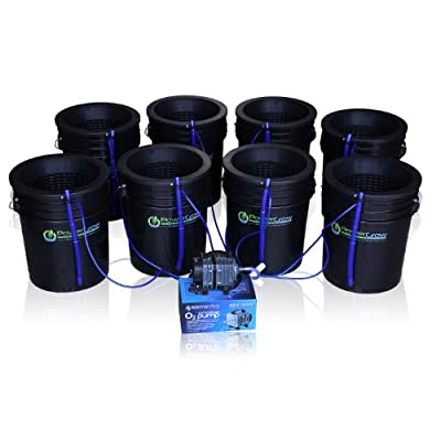 """Deep Water Culture (DWC) Hydroponic Bubbler 8 Bucket Kit with 10"""" Lids by PowerGrow ® Systems"""