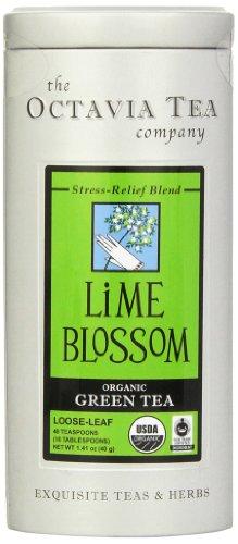 Octavia Tea Lime Blossom (Organic, Fair Trade Certified Green Tea) Loose Tea, 1.41 Ounce Tin