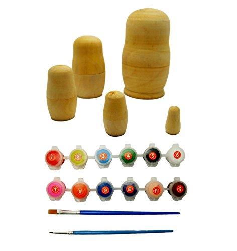【 創作 マトリョーシカ 】 マトリョーシカ 人形 作成 キット 5個組 / 無地 木製 を ペイント して DIY / オリジナル マトリョーシカ を インテリア や プレゼント に (作成キット)