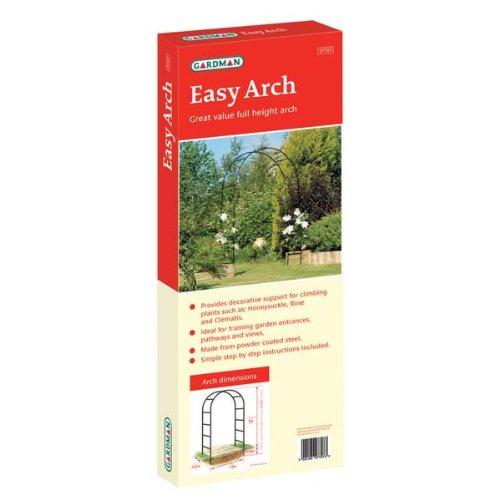 WorldStores Easy Arch - Garden Arch - 2.0m x 1.4m - Black Steel