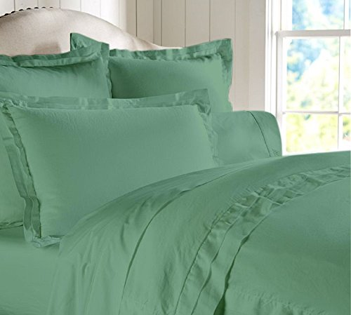 "Egyptian Cotton Luxurious Fitted Sheet With 17"" Deep Pocket 600 TC Solid By Amrich Bedding ( Full XL , Aqua Blue..."