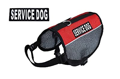 Service Dog Vest - Cool Comfort Mesh- 2 Free Removable Patches - Red Nylon Harness