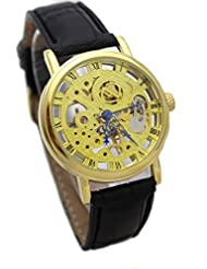 GT Gala Time Skeleton Mechanical Hand Winding Black Leather Strap Gold Case Wrist Watch For Men MECH-024