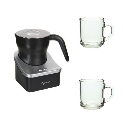 Capresso 202 Froth Pro Automatic Milk Frother With Two 10Oz Arc Handy Glass Coffee Mugs front-597468