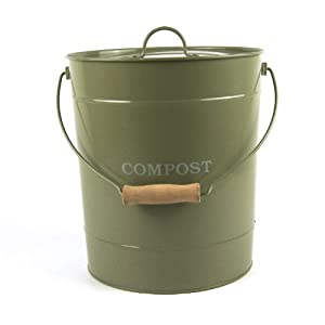 metal kitchen compost caddy gooseberry green colour composting