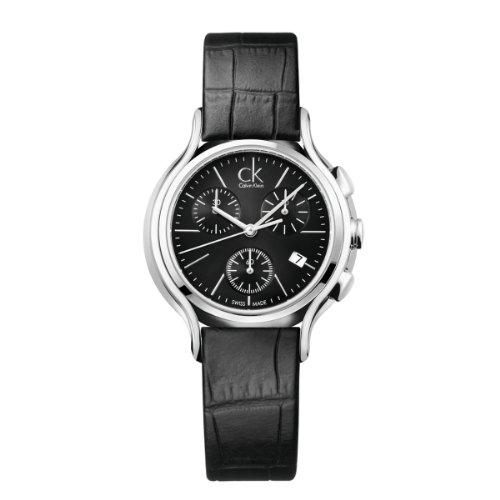 Calvin Klein K2U291C1 - Reloj cronógrafo de cuarzo para mujer con correa de piel, color negro