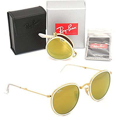 New Authentic Folding Ray-Ban RB 3517 001/93 51mm Gold / Gold Mirror