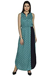 Funk For Hire Women Rayon Kite printed Blocked Maxi Dress (Turquoise, Size XL)