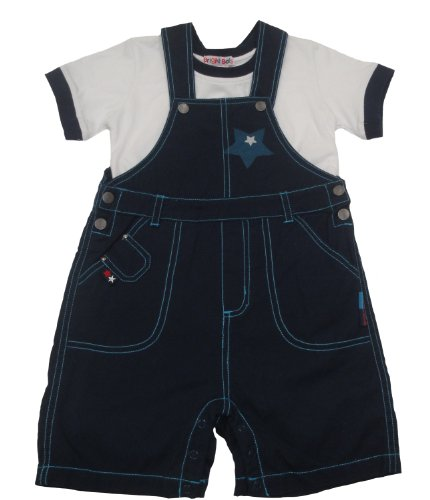 Bright Bots Boys Short Dungaree 2 Piece Set with matching Top in Navy Blue size 2-3 years