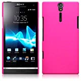 Sony Xperia S LT26i Hybrid Rubberised Back Cover Case / Shell Shield (Solid Hot Pink)by TERRAPIN
