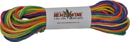 メルヘンアート ヘンプトゥワイン中タイプ/太さ:約1.8mm (指定外繊維Hemp100%)段染 10m巻 375.レインボー段染