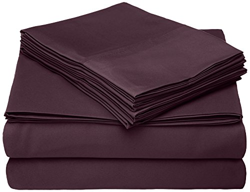 Cathay Home Micro Caress Luxurious Sheet Set, 90Gsm 4 -Piece Queen Size With 2 Additional Pillowcase, Eggplant Color front-830727