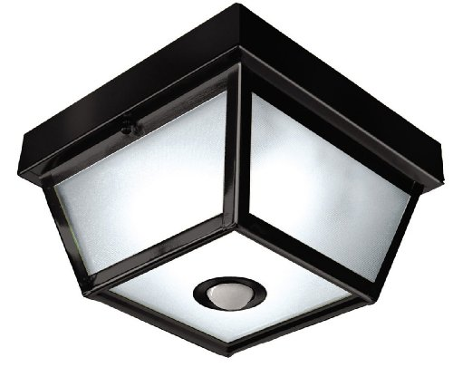 Heath Zenith SL-4305-BK Motion-Activated 5-Sided Porch Light, Black Brass with Frosted Glass