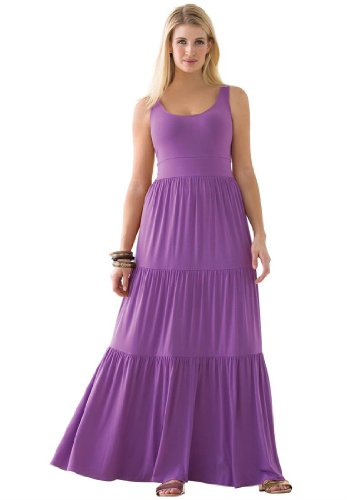 Jessica London Women's Plus Size Tiered Maxi Dress Bright Violet,24