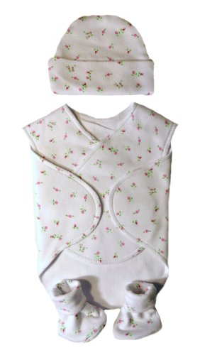 Beautiful Dainty Roses Nicu Preemie Snuggler Wrap Set (Small Preemie For Babies Weighing 3-6 Pounds)
