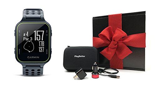 Garmin-Approach-S20-Slate-Gift-Box-Bundle-Includes-Golf-GPS-WatchActivity-Tracker-PlayBetter-USB-Car-Wall-Charging-Adapters-Protective-Hard-Carrying-Case-Black-Gift-Box-and-Red-Bow