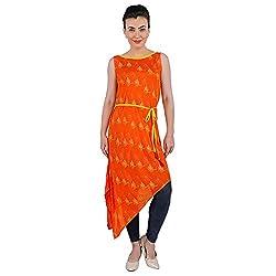 Funk For Hire Women Rayon Katputli printed Assymetrical Tunic (Orange, Size L)