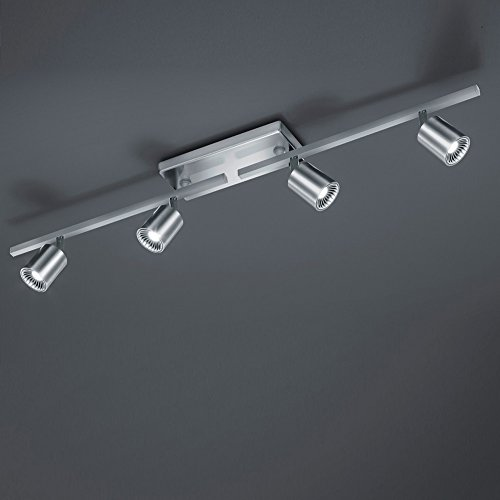 LED-Deckenstrahler aus Metall - inklusive 4 × 5W COB - LED- schwenkbar, in Nickel matt + Extra 1x GU10 LED Leuchtmittel zur freien Nutzung