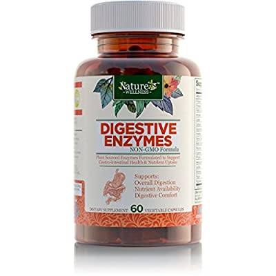 Digestive Enzyme Support Supplement by Nature's Wellness, 60-Count | 18 Enzymes for Efficient Digestion of Fats, Carbs, Proteins | Helps Eliminate Gas, Bloating, Digestive Upset | Safe & Fast