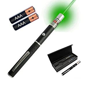 EiioX High Power Green Beam LED Laser Pointer Pen 1MW With Batteries and Gift Box