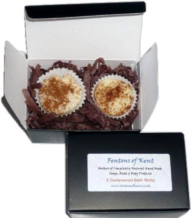 Handmade Natural Bath Melts - Cedarwood, Box of 2 (15g each) by Fentons of Kent