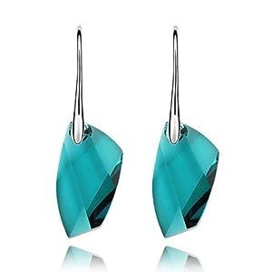 GoSparking Swarovski Elements Blue Zircon Crystal 18K White Gold Plated Alloy Earrings with Austrian Crystal For Women ER28249