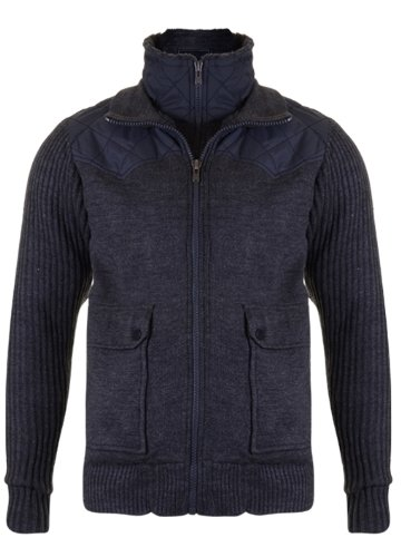 Mens 'CrossHatch' Faux-Fur Lined Zip Up Knitted Jumper Cardigan With Contrast Shoulder Detail. Style Name - Trazzel. In Charcoal Marl Size - medium