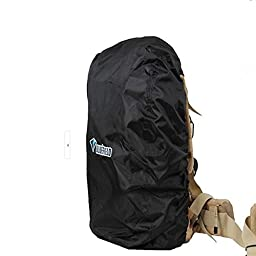 Mcupper-Black nylon backpack rain cover for hiking / camping / traveling (Size: L)