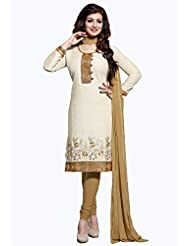 Ethnic For You Off-White And Beige Cotton Top Embroidered Work With Border Unstiched Dress Material