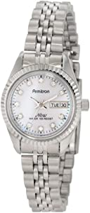 Armitron Women's 752475PMSV NOW Swarovski Crystal Accented Silver-Tone Pink Mother-of-Pearl Dress Watch
