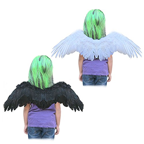 SACAS Small White Feather Angel Wings with Free Halo (2 Colors)